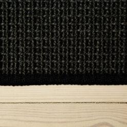 sort berber sisal løst tæppe med kant ovenfra